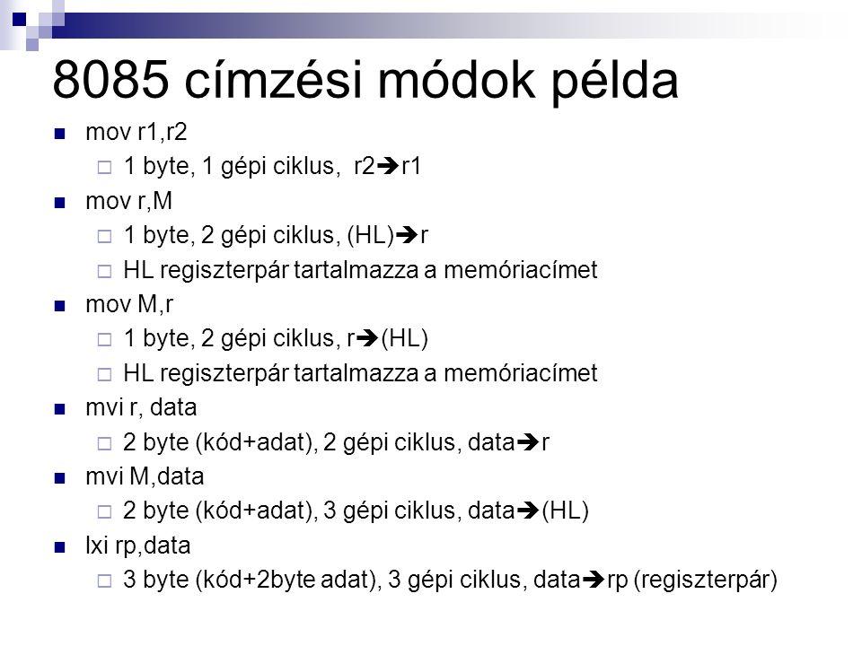 8085 címzési módok példa mov r1,r2  1 byte, 1 gépi ciklus, r2  r1 mov r,M  1 byte, 2 gépi ciklus, (HL)  r  HL regiszterpár tartalmazza a memóriacímet mov M,r  1 byte, 2 gépi ciklus, r  (HL)  HL regiszterpár tartalmazza a memóriacímet mvi r, data  2 byte (kód+adat), 2 gépi ciklus, data  r mvi M,data  2 byte (kód+adat), 3 gépi ciklus, data  (HL) lxi rp,data  3 byte (kód+2byte adat), 3 gépi ciklus, data  rp (regiszterpár)