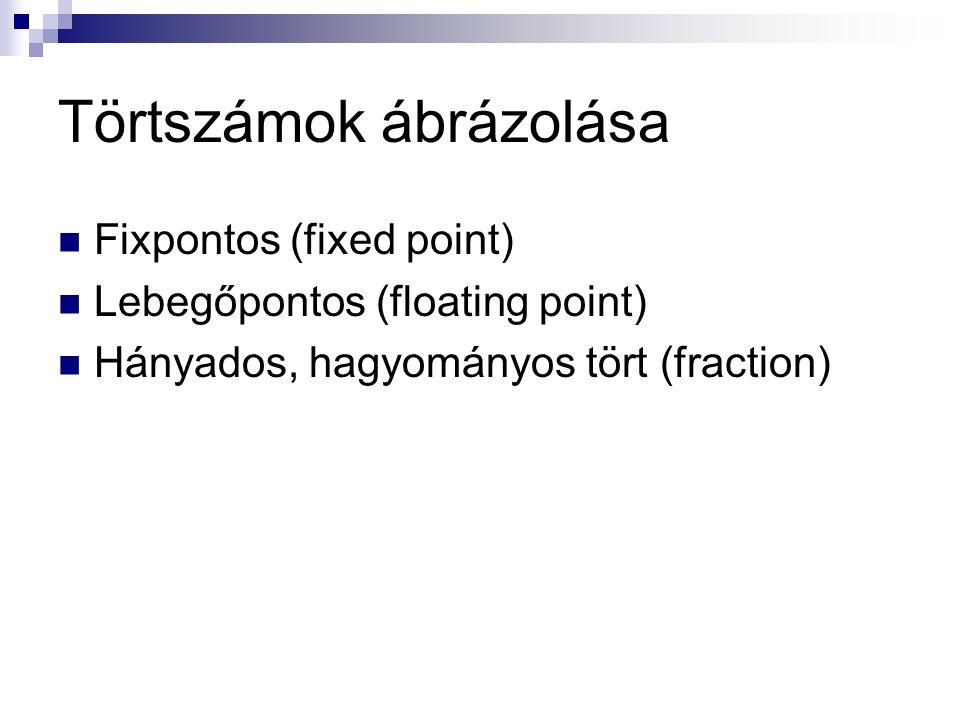 Törtszámok ábrázolása Fixpontos (fixed point) Lebegőpontos (floating point) Hányados, hagyományos tört (fraction)