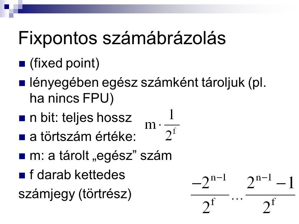Fixpontos számábrázolás (fixed point) lényegében egész számként tároljuk (pl.