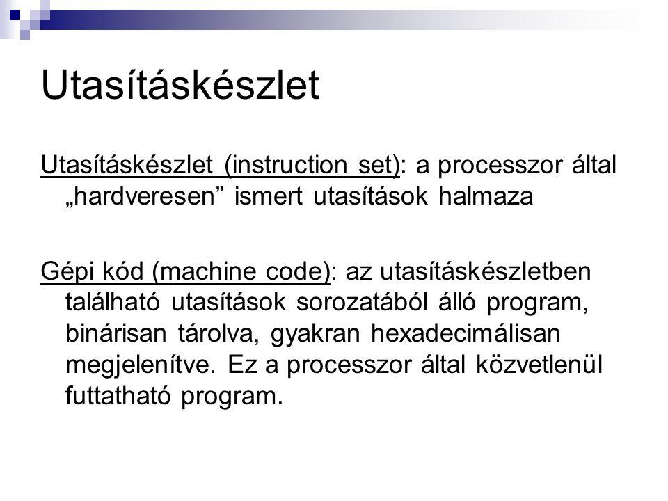 """Utasításkészlet (instruction set): a processzor által """"hardveresen ismert utasítások halmaza Gépi kód (machine code): az utasításkészletben található utasítások sorozatából álló program, binárisan tárolva, gyakran hexadecimálisan megjelenítve."""