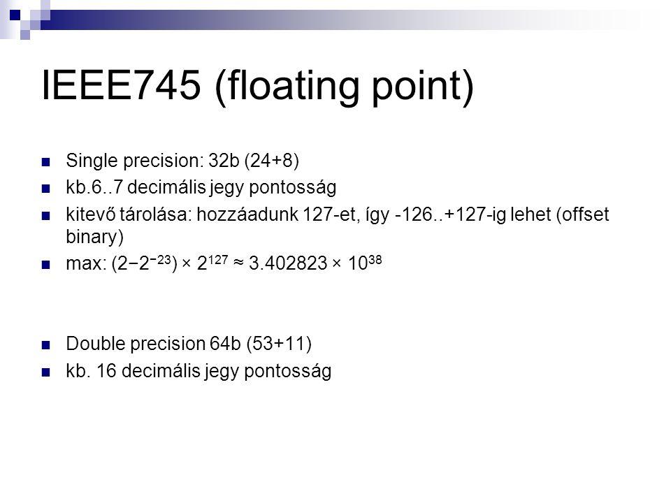 IEEE745 (floating point) Single precision: 32b (24+8) kb.6..7 decimális jegy pontosság kitevő tárolása: hozzáadunk 127-et, így -126..+127-ig lehet (offset binary) max: (2−2 −23 ) × 2 127 ≈ 3.402823 × 10 38 Double precision 64b (53+11) kb.