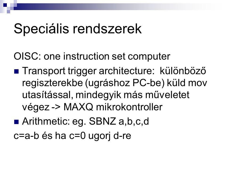 Speciális rendszerek OISC: one instruction set computer Transport trigger architecture: különböző regiszterekbe (ugráshoz PC-be) küld mov utasítással, mindegyik más műveletet végez -> MAXQ mikrokontroller Arithmetic: eg.