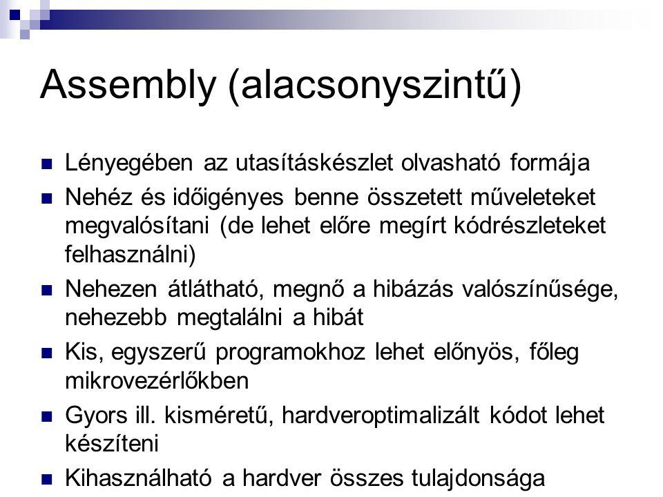 Assembly (alacsonyszintű) Lényegében az utasításkészlet olvasható formája Nehéz és időigényes benne összetett műveleteket megvalósítani (de lehet előre megírt kódrészleteket felhasználni) Nehezen átlátható, megnő a hibázás valószínűsége, nehezebb megtalálni a hibát Kis, egyszerű programokhoz lehet előnyös, főleg mikrovezérlőkben Gyors ill.