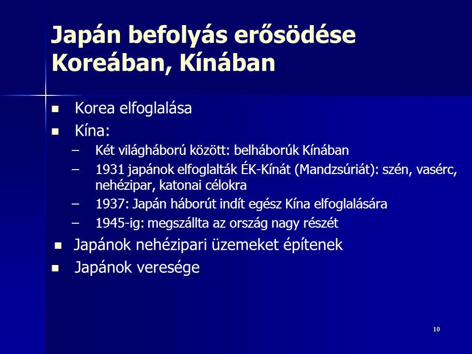 10 Japán befolyás erősödése Koreában, Kínában Korea elfoglalása Kína: – –Két világháború között: belháborúk Kínában – –1931 japánok elfoglalták ÉK-Kínát (Mandzsúriát): szén, vasérc, nehézipar, katonai célokra – –1937: Japán háborút indít egész Kína elfoglalására – –1945-ig: megszállta az ország nagy részét Japánok nehézipari üzemeket építenek Japánok veresége