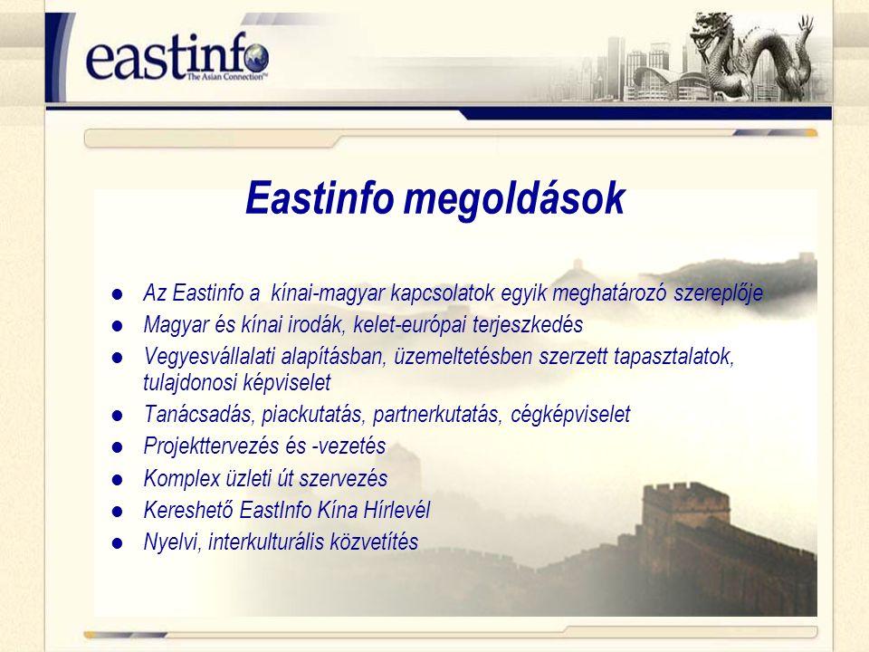 Eastinfo megoldások Az Eastinfo a kínai-magyar kapcsolatok egyik meghatározó szereplője Magyar és kínai irodák, kelet-európai terjeszkedés Vegyesvállalati alapításban, üzemeltetésben szerzett tapasztalatok, tulajdonosi képviselet Tanácsadás, piackutatás, partnerkutatás, cégképviselet Projekttervezés és -vezetés Komplex üzleti út szervezés Kereshető EastInfo Kína Hírlevél Nyelvi, interkulturális közvetítés
