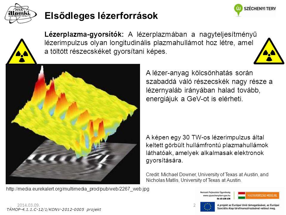 TÁMOP-4.1.1.C-12/1/KONV-2012-0005 projekt Elsődleges lézerforrások Lézerplazma-gyorsítók: A lézerplazmában a nagyteljesítményű lézerimpulzus olyan lon