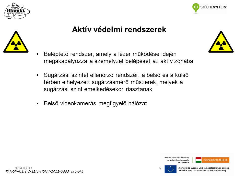 2014.03.09.6 Aktív védelmi rendszerek Beléptető rendszer, amely a lézer működése idején megakadályozza a személyzet belépését az aktív zónába Sugárzás