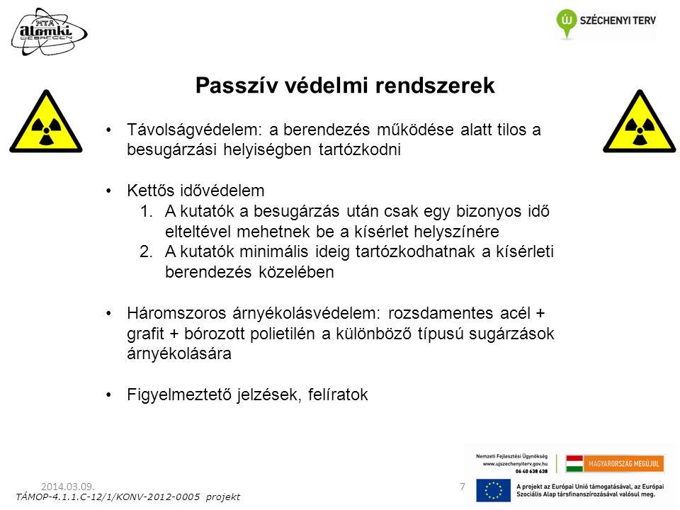2014.03.09.7 Passzív védelmi rendszerek Távolságvédelem: a berendezés működése alatt tilos a besugárzási helyiségben tartózkodni Kettős idővédelem 1.A