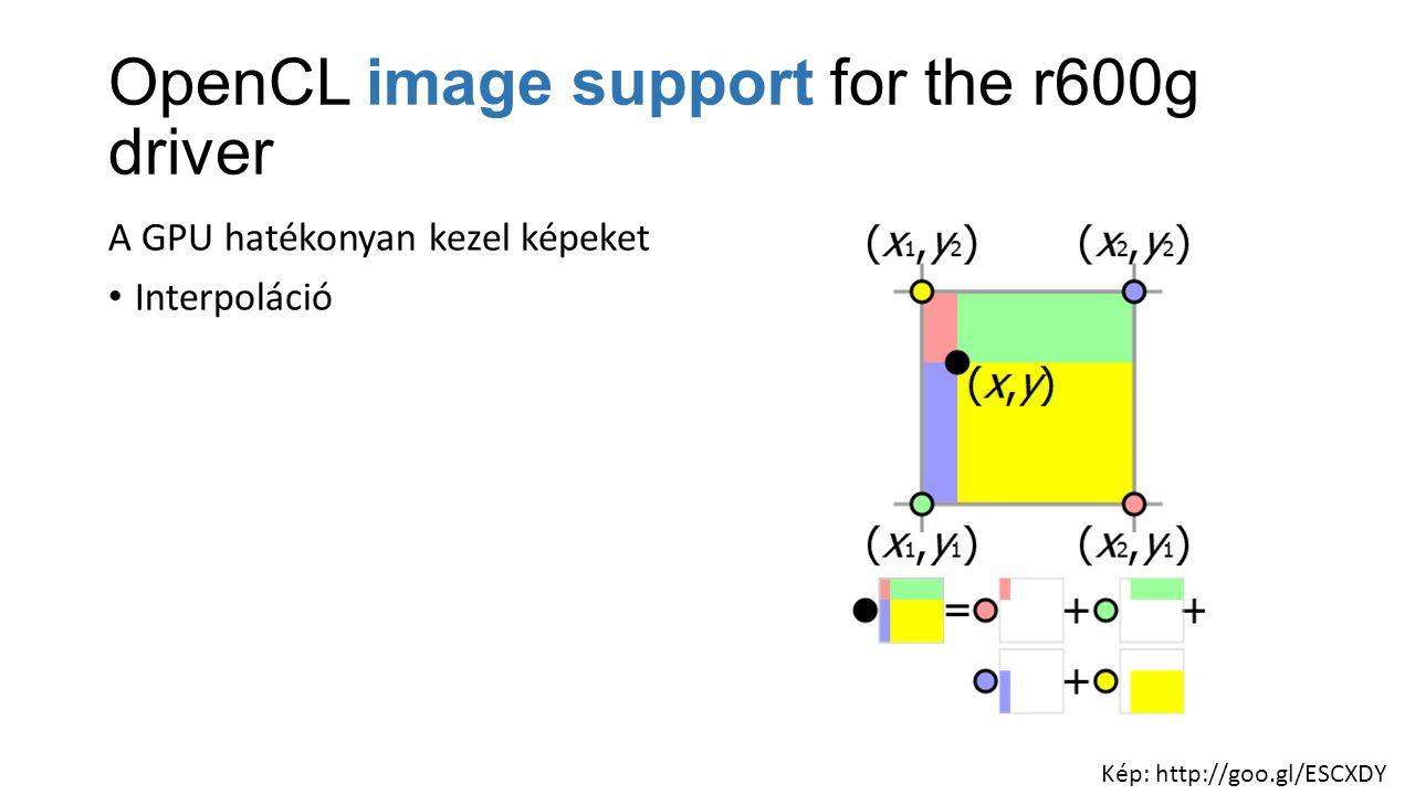 OpenCL image support for the r600g driver A GPU hatékonyan kezel képeket Interpoláció Kép: http://goo.gl/ESCXDY