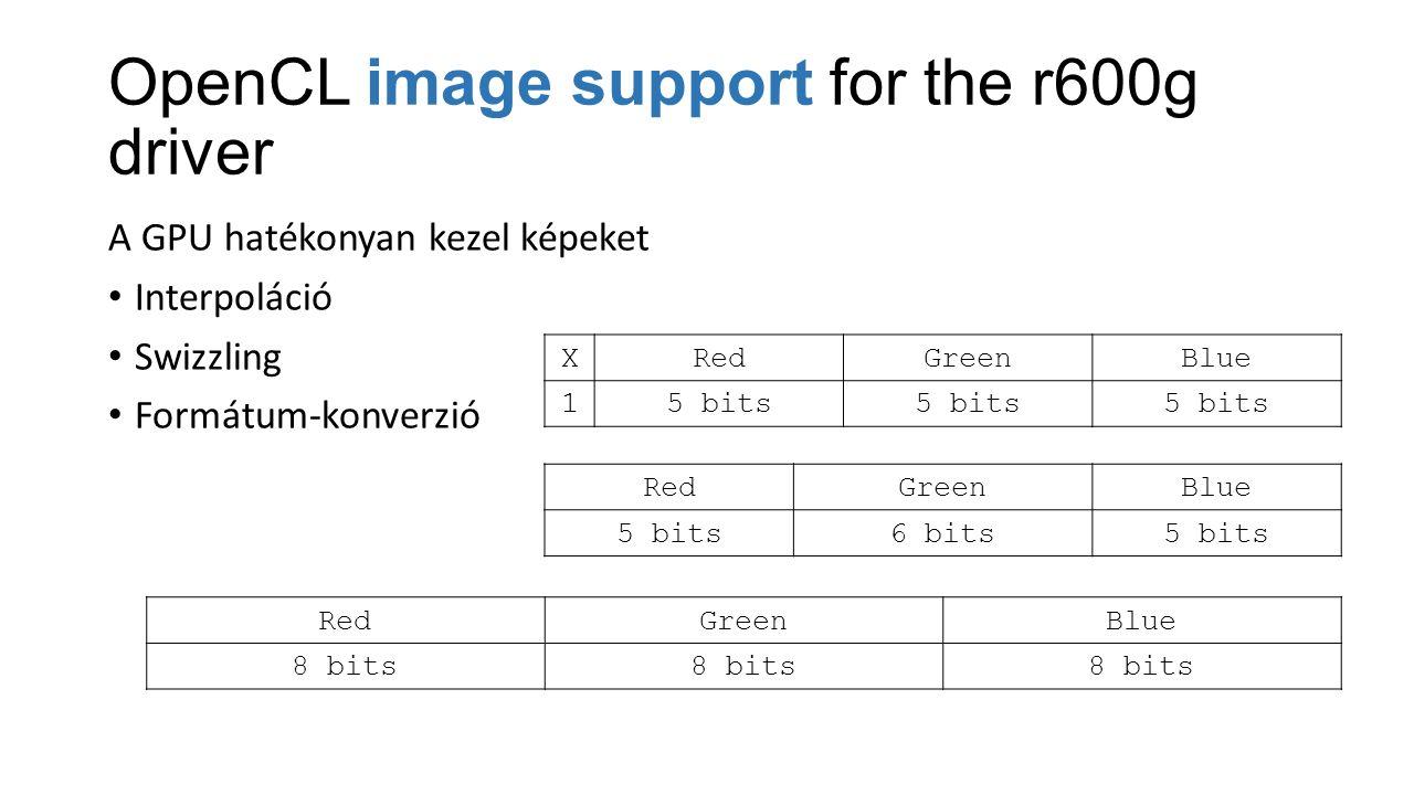 OpenCL image support for the r600g driver A GPU hatékonyan kezel képeket Interpoláció Swizzling Formátum-konverzió XRedGreenBlue 15 bits RedGreenBlue 5 bits6 bits5 bits RedGreenBlue 8 bits