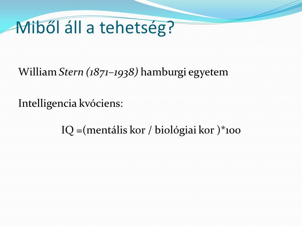 Miből áll a tehetség? William Stern (1871–1938) hamburgi egyetem Intelligencia kvóciens: IQ =(mentális kor / biológiai kor )*100