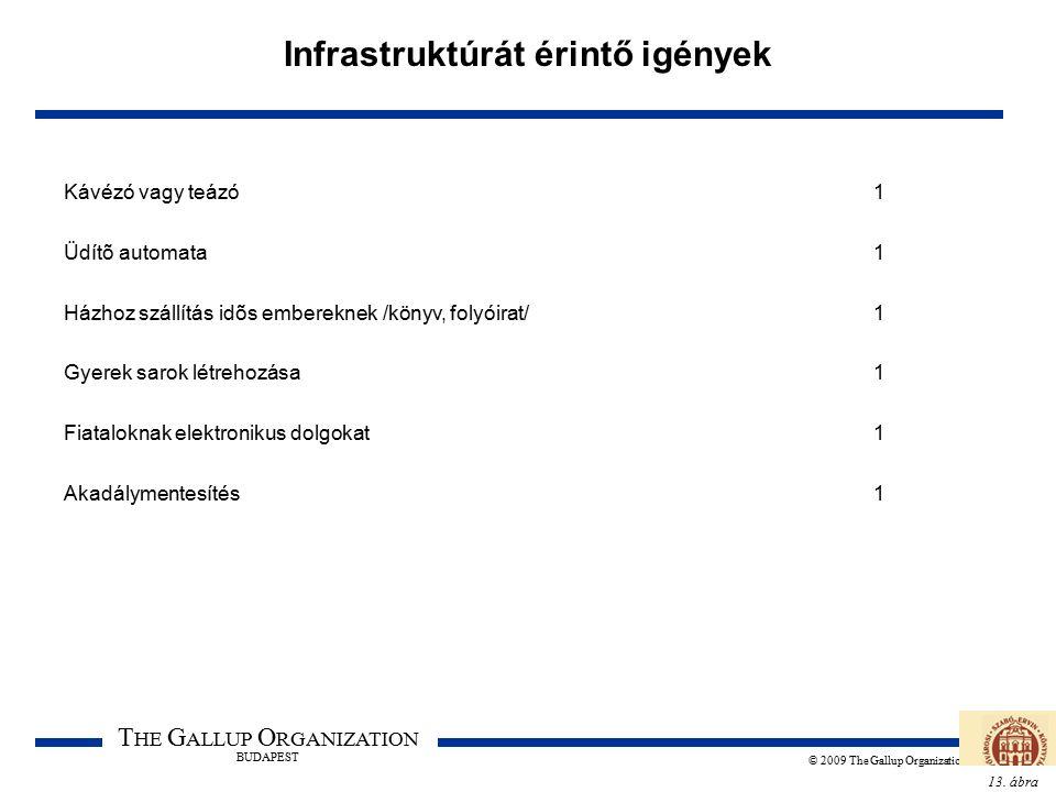 13. ábra T HE G ALLUP O RGANIZATION BUDAPEST © 2009 The Gallup Organization Infrastruktúrát érintő igények Kávézó vagy teázó1 Üdítõ automata1 Házhoz s