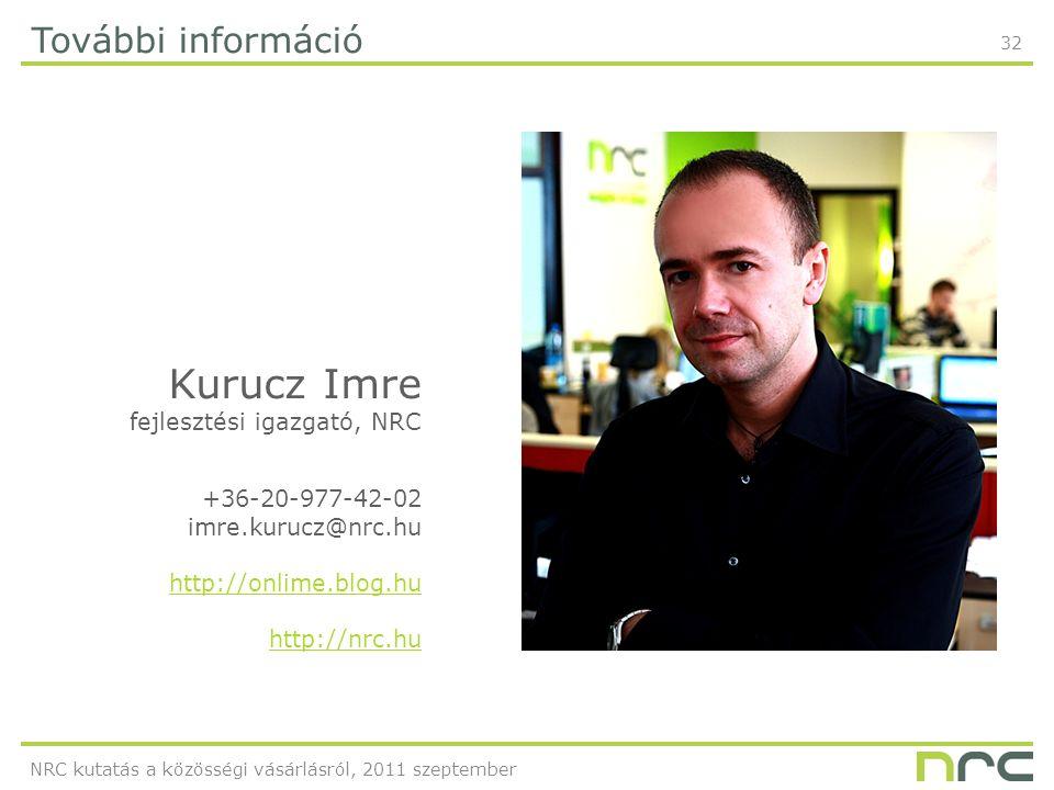 32 További információ Kurucz Imre fejlesztési igazgató, NRC +36-20-977-42-02 imre.kurucz@nrc.hu http://onlime.blog.hu http://nrc.hu NRC kutatás a közösségi vásárlásról, 2011 szeptember