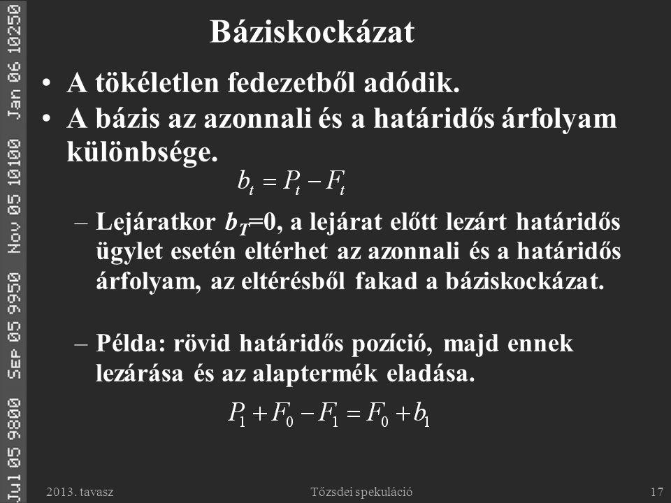 2013.tavaszTőzsdei spekuláció17 Báziskockázat A tökéletlen fedezetből adódik.