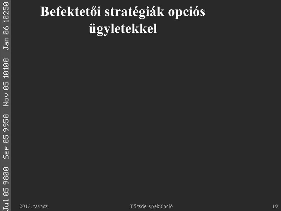 2013. tavaszTőzsdei spekuláció19 Befektetői stratégiák opciós ügyletekkel