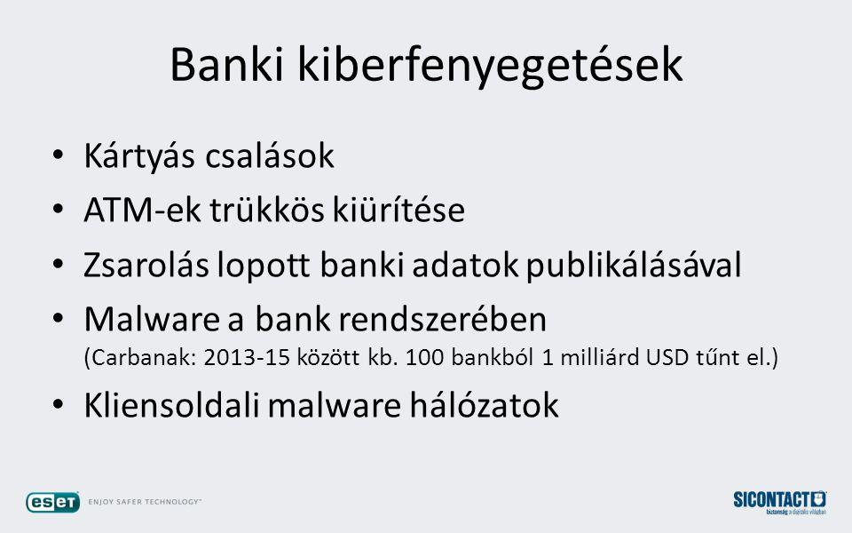 Banki kiberfenyegetések Kártyás csalások ATM-ek trükkös kiürítése Zsarolás lopott banki adatok publikálásával Malware a bank rendszerében (Carbanak: 2013-15 között kb.
