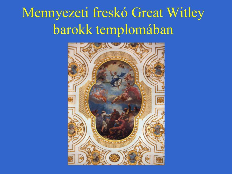 Mennyezeti freskó Great Witley barokk templomában