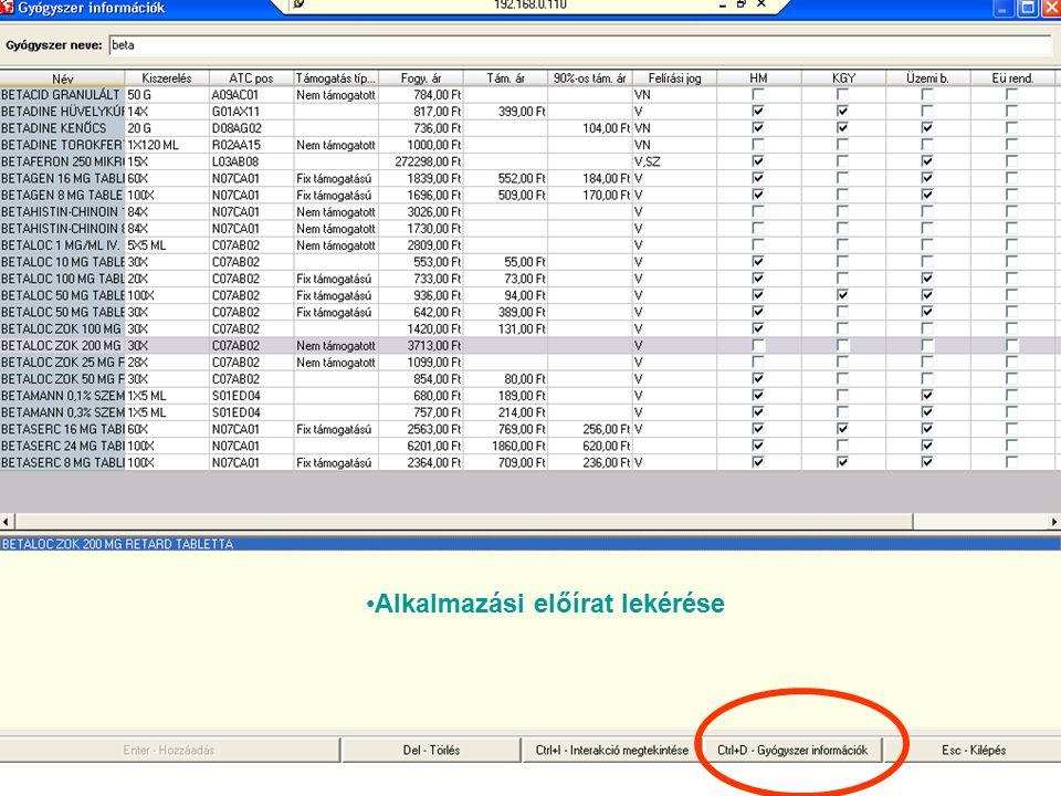 Gyógyszer információ lekérdezése a Főnix rendszerben