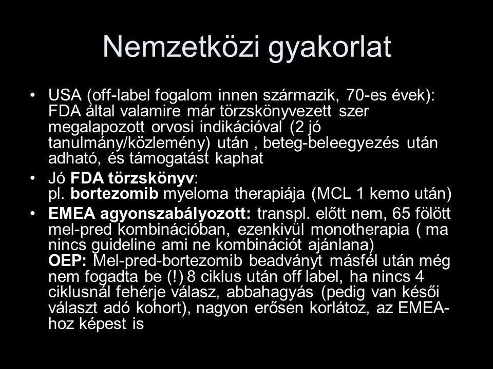 Nemzetközi gyakorlat USA (off-label fogalom innen származik, 70-es évek): FDA által valamire már törzskönyvezett szer megalapozott orvosi indikációval