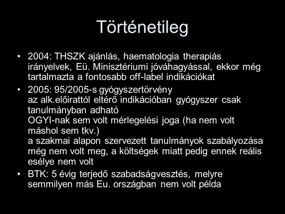 Történetileg 2004: THSZK ajánlás, haematologia therapiás irányelvek, Eü. Minisztériumi jóváhagyással, ekkor még tartalmazta a fontosabb off-label indi