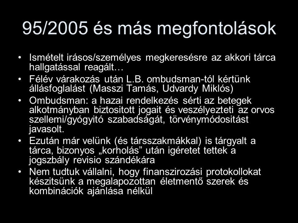 95/2005 és más megfontolások Ismételt irásos/személyes megkeresésre az akkori tárca hallgatással reagált… Félév várakozás után L.B. ombudsman-tól kért