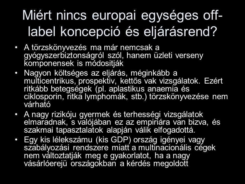 Miért nincs europai egységes off- label koncepció és eljárásrend? A törzskönyvezés ma már nemcsak a gyógyszerbiztonságról szól, hanem üzleti verseny k