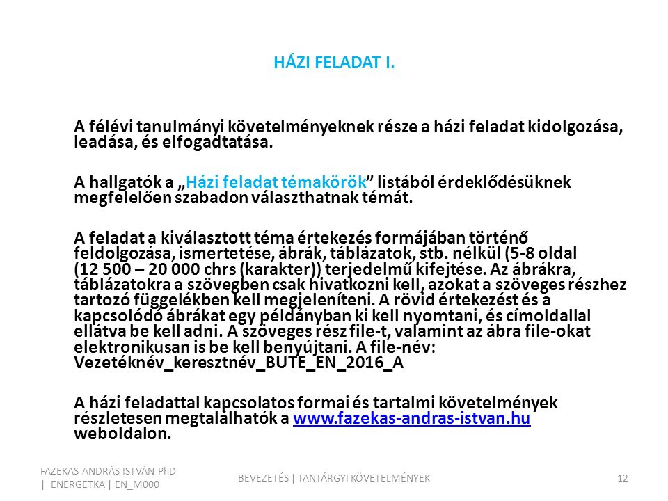 HÁZI FELADAT I.