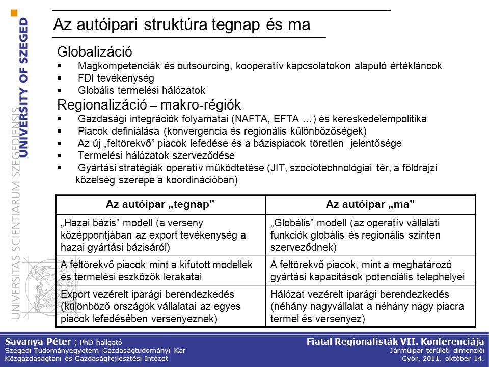 """Az autóipari struktúra tegnap és ma Globalizáció  Magkompetenciák és outsourcing, kooperatív kapcsolatokon alapuló értékláncok  FDI tevékenység  Globális termelési hálózatok Regionalizáció – makro-régiók  Gazdasági integrációk folyamatai (NAFTA, EFTA …) és kereskedelempolitika  Piacok definiálása (konvergencia és regionális különbözőségek)  Az új """"feltörekvő piacok lefedése és a bázispiacok töretlen jelentősége  Termelési hálózatok szerveződése  Gyártási stratégiák operatív működtetése (JIT, szociotechnológiai tér, a földrajzi közelség szerepe a koordinációban) Az autóipar """"tegnap Az autóipar """"ma """"Hazai bázis modell (a verseny középpontjában az export tevékenység a hazai gyártási bázisáról) """"Globális modell (az operatív vállalati funkciók globális és regionális szinten szerveződnek) A feltörekvő piacok mint a kifutott modellek és termelési eszközök lerakatai A feltörekvő piacok, mint a meghatározó gyártási kapacitások potenciális telephelyei Export vezérelt iparági berendezkedés (különböző országok vállalatai az egyes piacok lefedésében versenyeznek) Hálózat vezérelt iparági berendezkedés (néhány nagyvállalat a néhány nagy piacra termel és versenyez) Savanya Péter ; PhD hallgató Szegedi Tudományegyetem Gazdaságtudományi Kar Közgazdaságtani és Gazdaságfejlesztési Intézet Fiatal Regionalisták VII."""