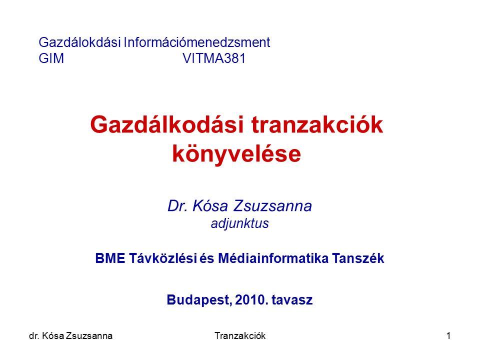 dr. Kósa ZsuzsannaTranzakciók1 Gazdálkodási tranzakciók könyvelése Dr. Kósa Zsuzsanna adjunktus BME Távközlési és Médiainformatika Tanszék Budapest, 2
