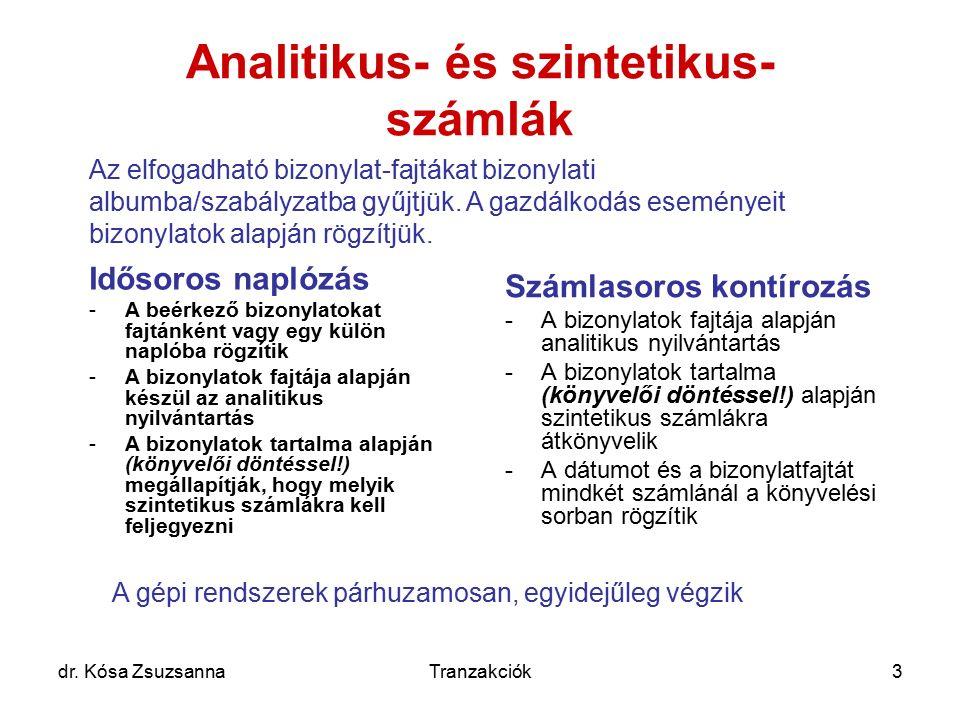 dr. Kósa ZsuzsannaTranzakciók3 Analitikus- és szintetikus- számlák Idősoros naplózás -A beérkező bizonylatokat fajtánként vagy egy külön naplóba rögzí