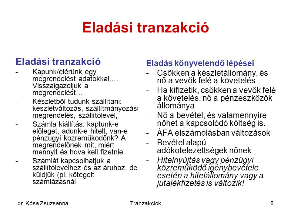 dr. Kósa ZsuzsannaTranzakciók6 Eladási tranzakció -Kapunk/elérünk egy megrendelést adatokkal,… Visszaigazoljuk a megrendelést… -Készletből tudunk szál
