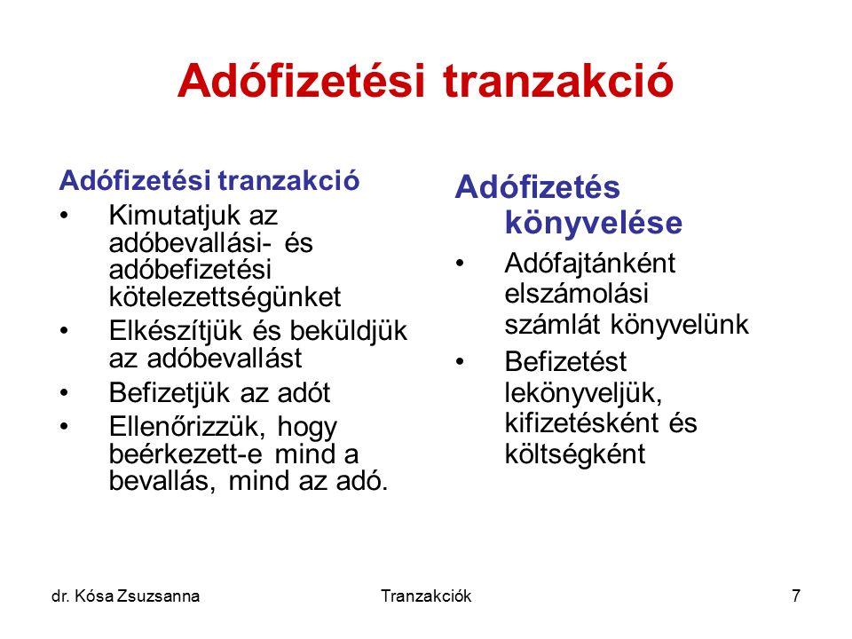 dr. Kósa ZsuzsannaTranzakciók7 Adófizetési tranzakció Kimutatjuk az adóbevallási- és adóbefizetési kötelezettségünket Elkészítjük és beküldjük az adób
