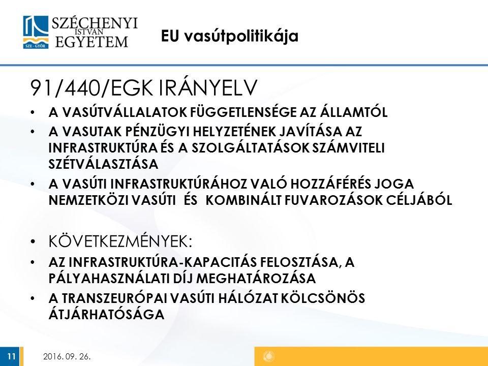 EU vasútpolitikája 91/440/EGK IRÁNYELV A VASÚTVÁLLALATOK FÜGGETLENSÉGE AZ ÁLLAMTÓL A VASUTAK PÉNZÜGYI HELYZETÉNEK JAVÍTÁSA AZ INFRASTRUKTÚRA ÉS A SZOLGÁLTATÁSOK SZÁMVITELI SZÉTVÁLASZTÁSA A VASÚTI INFRASTRUKTÚRÁHOZ VALÓ HOZZÁFÉRÉS JOGA NEMZETKÖZI VASÚTI ÉS KOMBINÁLT FUVAROZÁSOK CÉLJÁBÓL KÖVETKEZMÉNYEK: AZ INFRASTRUKTÚRA-KAPACITÁS FELOSZTÁSA, A PÁLYAHASZNÁLATI DÍJ MEGHATÁROZÁSA A TRANSZEURÓPAI VASÚTI HÁLÓZAT KÖLCSÖNÖS ÁTJÁRHATÓSÁGA 2016.