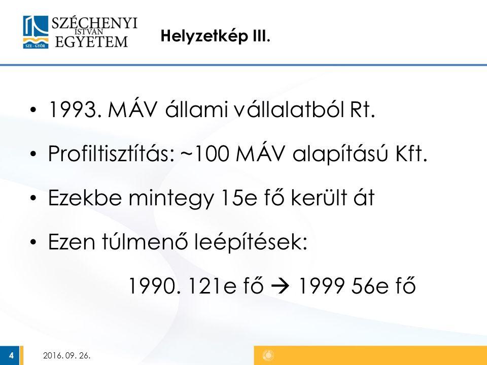 Helyzetkép III. 1993. MÁV állami vállalatból Rt.