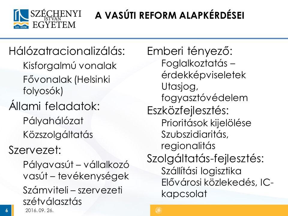 A VASÚTI REFORM ALAPKÉRDÉSEI Hálózatracionalizálás: Kisforgalmú vonalak Fővonalak (Helsinki folyosók) Állami feladatok: Pályahálózat Közszolgáltatás Szervezet: Pályavasút – vállalkozó vasút – tevékenységek Számviteli – szervezeti szétválasztás 2016.