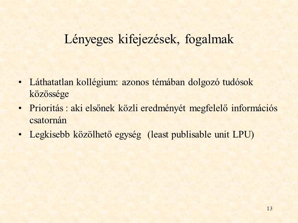 13 Lényeges kifejezések, fogalmak Láthatatlan kollégium: azonos témában dolgozó tudósok közössége Prioritás : aki elsőnek közli eredményét megfelelő információs csatornán Legkisebb közölhető egység (least publisable unit LPU)