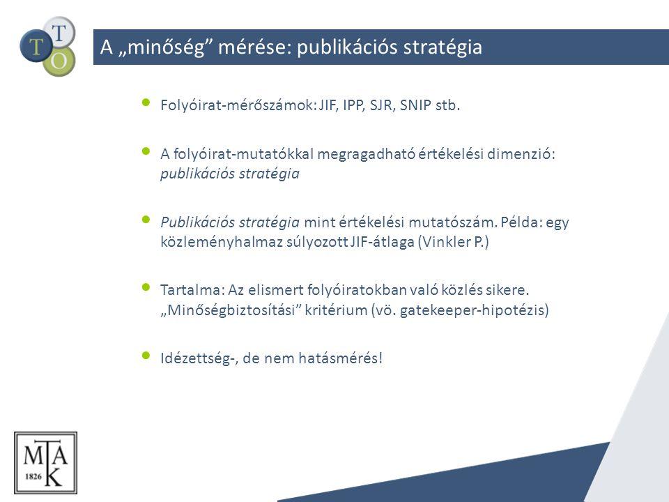 """A """"minőség mérése: publikációs stratégia Folyóirat-mérőszámok: JIF, IPP, SJR, SNIP stb."""