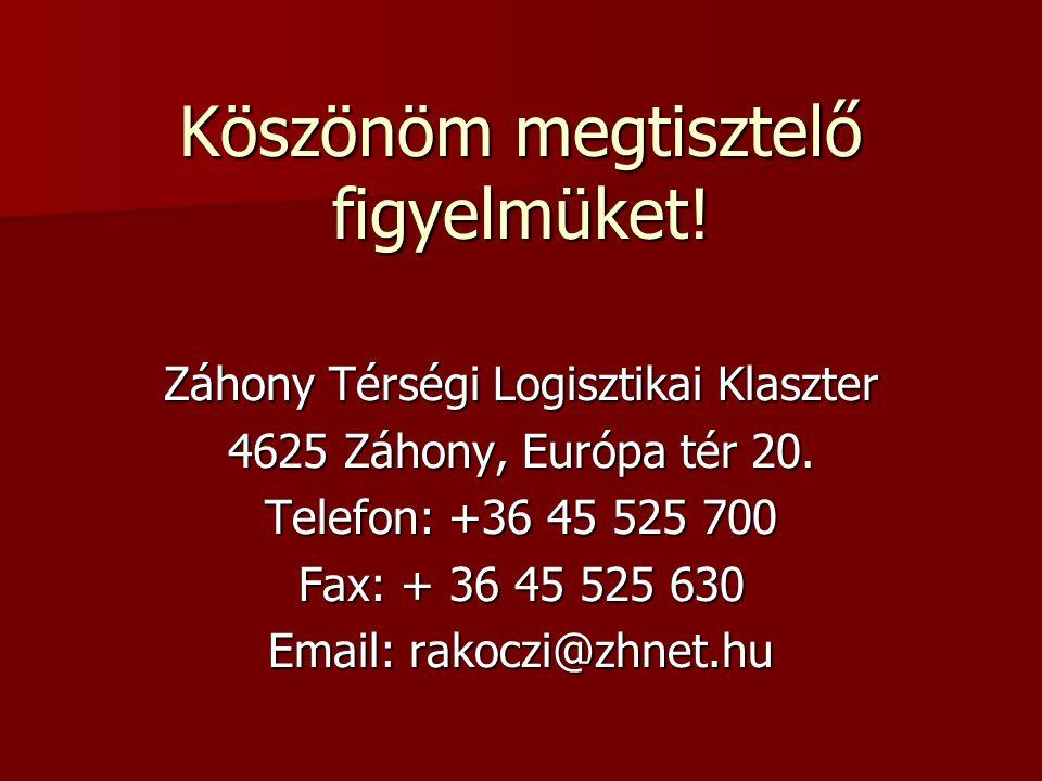Köszönöm megtisztelő figyelmüket. Záhony Térségi Logisztikai Klaszter 4625 Záhony, Európa tér 20.