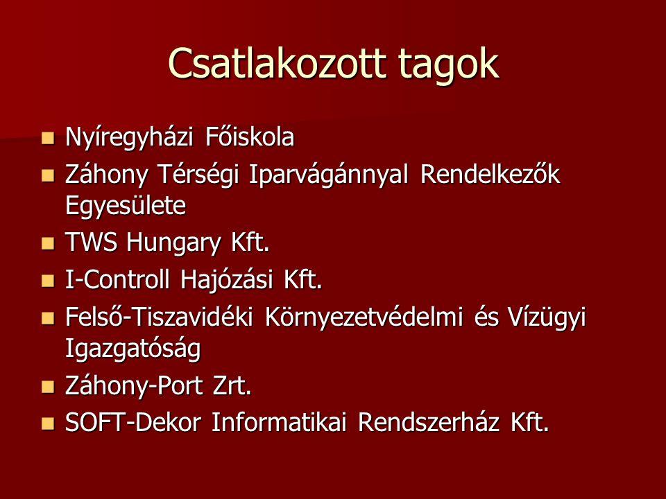 Csatlakozott tagok Nyíregyházi Főiskola Nyíregyházi Főiskola Záhony Térségi Iparvágánnyal Rendelkezők Egyesülete Záhony Térségi Iparvágánnyal Rendelkezők Egyesülete TWS Hungary Kft.