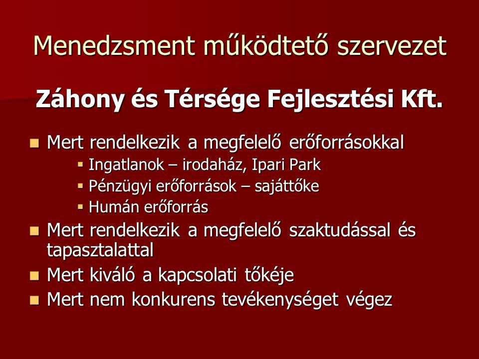 Menedzsment működtető szervezet Záhony és Térsége Fejlesztési Kft.