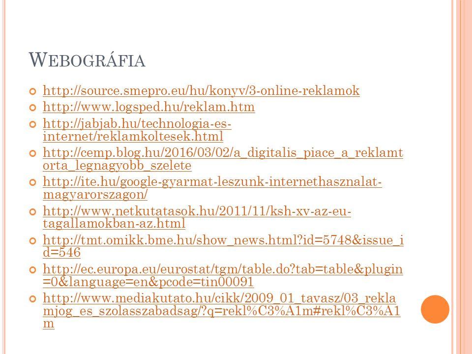 W EBOGRÁFIA http://source.smepro.eu/hu/konyv/3-online-reklamok http://www.logsped.hu/reklam.htm http://jabjab.hu/technologia-es- internet/reklamkoltesek.html http://cemp.blog.hu/2016/03/02/a_digitalis_piace_a_reklamt orta_legnagyobb_szelete http://ite.hu/google-gyarmat-leszunk-internethasznalat- magyarorszagon/ http://www.netkutatasok.hu/2011/11/ksh-xv-az-eu- tagallamokban-az.html http://tmt.omikk.bme.hu/show_news.html id=5748&issue_i d=546 http://ec.europa.eu/eurostat/tgm/table.do tab=table&plugin =0&language=en&pcode=tin00091 http://www.mediakutato.hu/cikk/2009_01_tavasz/03_rekla mjog_es_szolasszabadsag/ q=rekl%C3%A1m#rekl%C3%A1 m