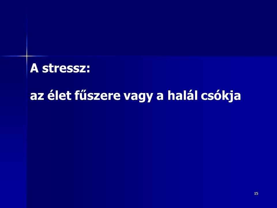 15 A stressz: az élet fűszere vagy a halál csókja