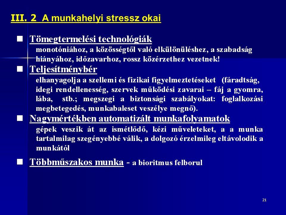 21 III. 2 A munkahelyi stressz okai