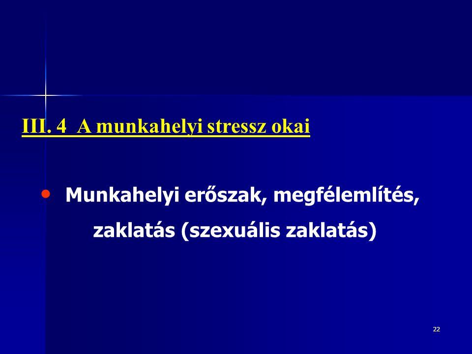 22 Munkahelyi erőszak, megfélemlítés, zaklatás (szexuális zaklatás) III. 4 A munkahelyi stressz okai