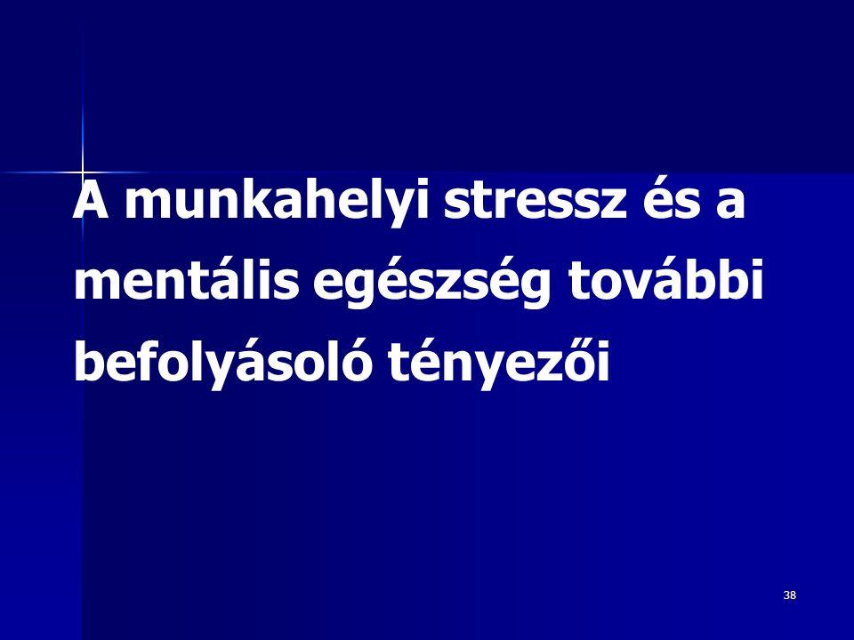 38 A munkahelyi stressz és a mentális egészség további befolyásoló tényezői