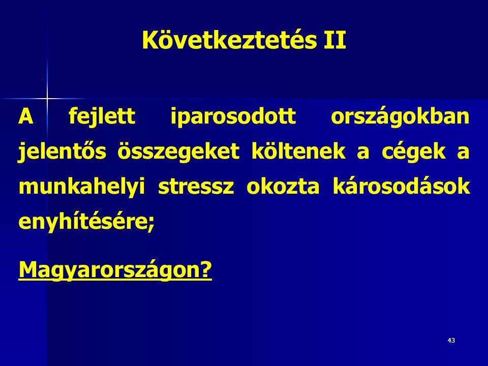 43 A fejlett iparosodott országokban jelentős összegeket költenek a cégek a munkahelyi stressz okozta károsodások enyhítésére; Magyarországon? Követke