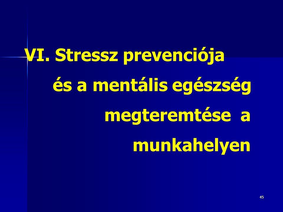 45 VI. Stressz prevenciója és a mentális egészség megteremtése a munkahelyen