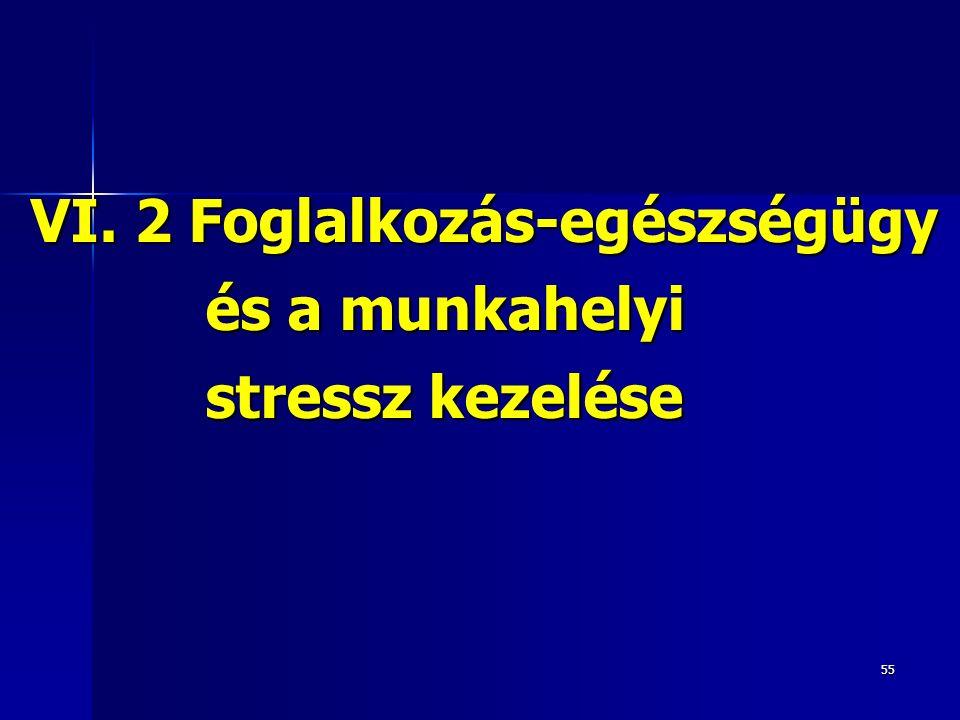 55 VI.2 Foglalkozás-egészségügy és a munkahelyi stressz kezelése VI.