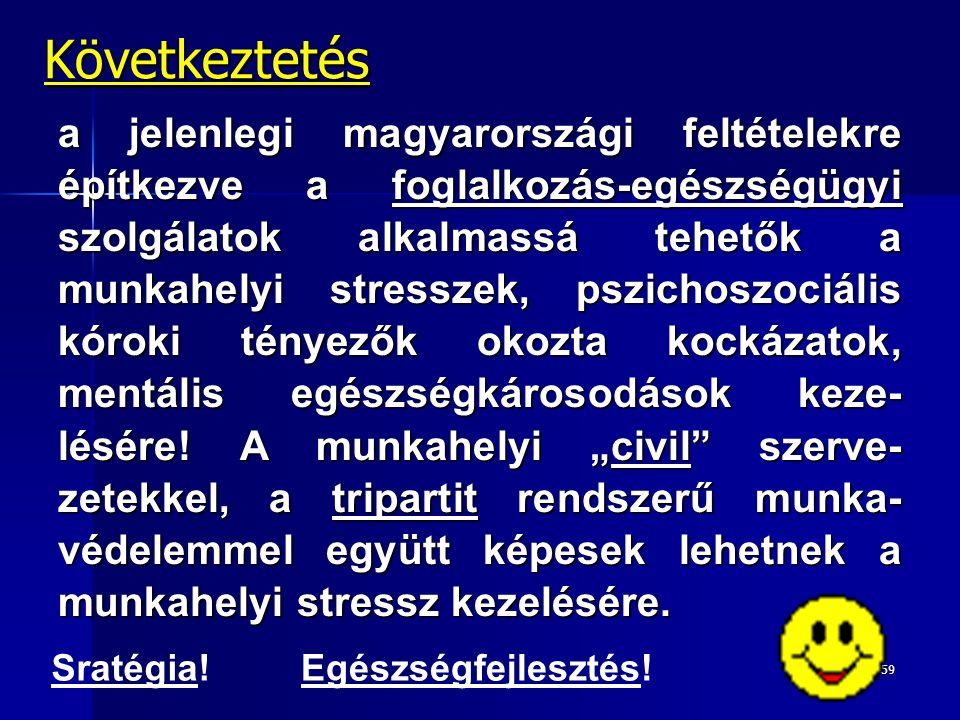 59 Következtetés a jelenlegi magyarországi feltételekre építkezve a foglalkozás-egészségügyi szolgálatok alkalmassá tehetők a munkahelyi stresszek, pszichoszociális kóroki tényezők okozta kockázatok, mentális egészségkárosodások keze- lésére.