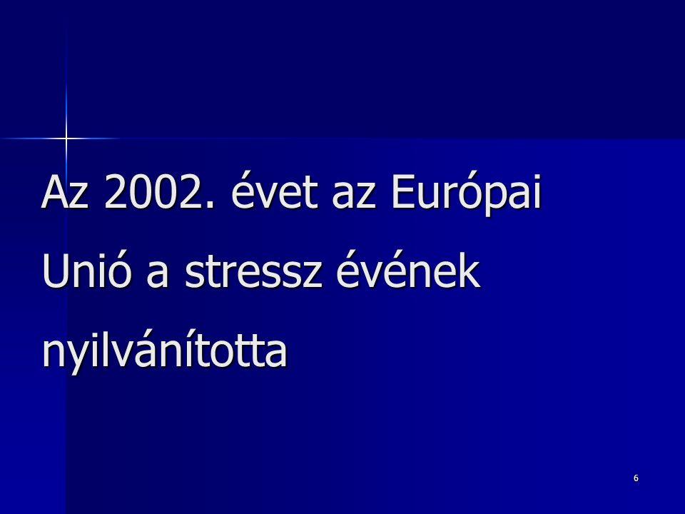 6 Az 2002. évet az Európai Unió a stressz évének nyilvánította
